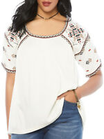 New Plus Size Roamans exceptional quality stretch embroidered Gypsy top tunic