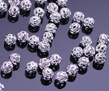 100 Gorgeous Silver Plated Filigree Cut Out Beads 4MM