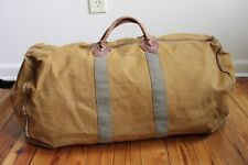 "Vtg LL Bean Brown Green Leather Handle Extra Large Duffle 27"" Bag Talon Cursive"
