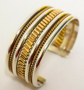 """Navajo Tahe Sterling Silver Cuff ~6.13"""" Heavy Beautiful Color"""