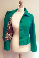BODEN GREEN JACKET SIZE 10 FLORAL PRINT LINING COTTON BUTTON