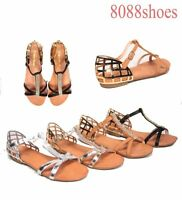 Women's Fashion Rhinestone T-Strap Flat Heel Buckle Sandal Shoes Size 5.5 - 10