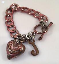 JUICY COUTURE METALLIC PINK HEART & J CHARM TOGGLE  BRACELET