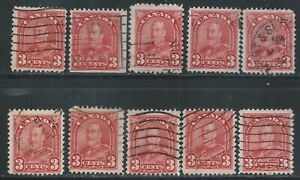 Canada #167(1) 1931 3 cent deep red KING GEORGE ARCH/LEAF V 10 Used