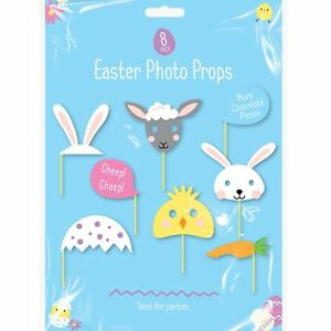8pc Easter Photo Booth Party Selfie Gag Prop Masks Hats Bunny Chick Lamb Carrot