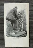 HO4) Holzschnitt 1885-1900 E Tilly - Zimmervelociped Heimtrainer Fahrrad Technik