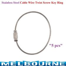 5 x Stainless Steel 15cm Wire Keychain Cable Key Ring Screw Lock Rings Tradesman