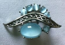 Blue Stones in Silver-tone Setting. Large Vintage Brooch Beautiful Pale