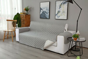 Pet Protector 3-Seater Sofa Covers Quilted Nonslip Floral Gray Slipcover Room