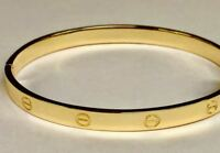 10k Solid Yellow Gold Screw LOVE Design Bangle/Bracelet  6mm 24 grams, 7 Inch