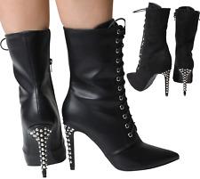 Ankle Black SteamPunk Victorian Boots Platform Lace Up High Stilleto Heel Spikes
