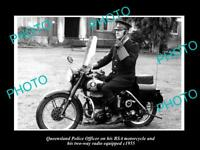 OLD LARGE HISTORIC PHOTO OF QUEENSLAND POLICE BSA MOTORCYCLE  & RADIO c1955