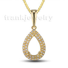Jewelry Sets Solid 14Kt Yellow Gold Diamonds Semi mount Pear 6x8mm Pendant