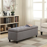 "48"" inch Rectangular Storage Linen Ottoman Bench Tufted Footrest Lift Top, Gray"