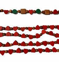 Vintage Wooden Garland Red Hearts Green & Natural Beads Christmas Garland 9'