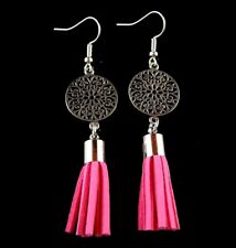 Bohemian Tibetan Style Statement Earrings with Hot Pink Suede Tassels #1484