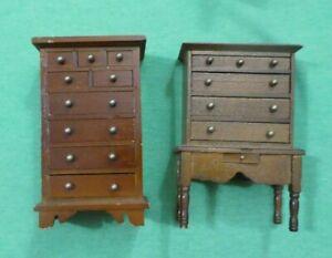 Vintage Dollhouse Miniature Dark Wood Dressers
