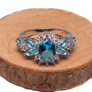 Blue And White Cubic Zirconia Silver Plated Cocktail Ring Various Size