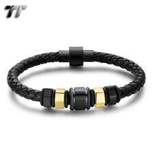 Bead Magnet Buckle Bracelet (Br311) New Tt Black Leather 316L S.Steel Black/Gold