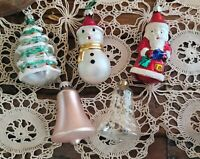 Vintage Glass Figural Santa Claus Snowman Tree Bells Christmas Ornaments Germany
