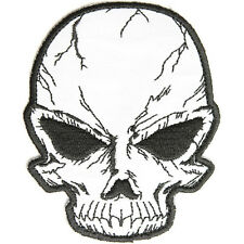 Embroidered Reflective Cracked Skull Sew or Iron on Patch Biker Patch