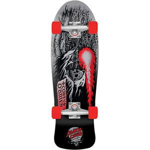 """Santa Cruz Skateboard Complete Obrien Reaper 80's Style Black/Silver 8.34"""" x 26"""
