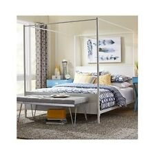 Full Size Bed Frame White Headboard Footboard Metal Canopy Bedroom Furniture New