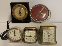 Lot of 5 Vintage Alarm Clocks  UNTESTED for Parts/Repair~ Telechron, Westclox