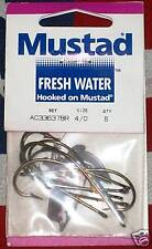 mustad 4/0 fishing hooks ac33637br qty 8 fresh water