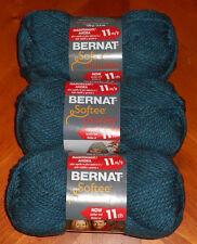 Bernat Softee Chunky Yarn Lot Of 3 Skeins (Teal #28203)