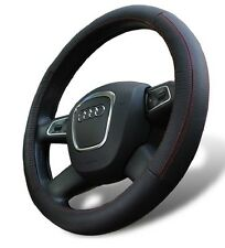 Genuine Leather Steering Wheel Cover for Acura Sedan Universal Fit - Black