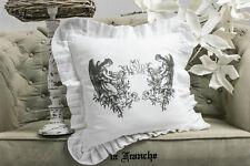 ENGEL Shabby Chic 45x45 Kissenhülle Bezug Volant bedruckt Weiß Landhaus Rüschen