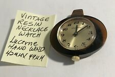 Vintage Resin Lucerne Swiss Hand Wind Necklace Watch Running 42mm X44mm