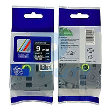2PK White on Black Label Tape Compatible for Brother TZ TZe 325 P-touch  9mm 8m