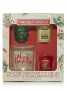 Yankee Candle Holiday 3 Votive & Holder Set *New*