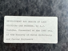 """Booklet 1948 """"Development and Design of Great Lakes Carferries"""""""
