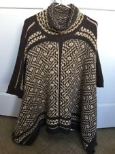 152. Ralph Lauren Wool Blend Intarsia Turtle Neck Poncho Rare New Sm/M