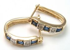 SYJEWELLERY 9CT YELLOW GOLD SQUARE NATURAL SAPPHIRE & DIAMOND HOOP EARRINGS E928