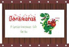 Personalised Christmas Money Gift Voucher Wallet Card & Envelope - Dino & Santa