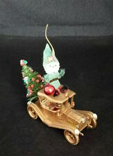 Vintage Pipe Cleaner Santa on a 1911 Maxwell Roadster Christmas Ornament