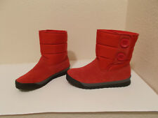 WOMENS LANDS END BEIGE RED SUEDE LEATHER SNOW WINTER COMMUTER BOOTS SZ 6B