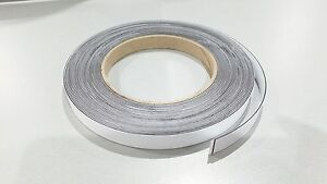 MAGNETIC RECEPTIVE Ferrous Tape Self Adhesive White face strip 12.5mm wide 10m