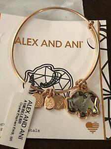 "ALEX AND ANI ""CRYSTAL ELEPHANT"" Expandable Bracelet SHINY ROSE GOLD NWT & Card"