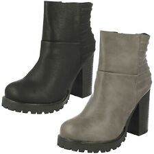 Ladies Spot On! F50377 Black Or Grey Synthetic Casual Zip Up Ankle Boots