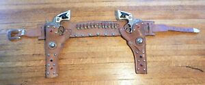 Vintage Hubley Toy Co. Pair of Western Cowboy Cap Guns with Leather Holsters