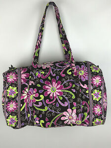 Vera Bradley Large Purple Punch Travel Duffle Bag EUC Retired Pattern Brown Pink