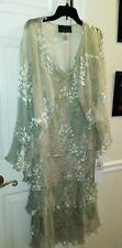 Alex Evenings Light Green Sleeveless ruffle 2 pc Dress & Jacket - 22W NWT