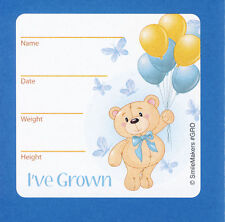 15 I've Grown Bear - Blue - Height and Weight - Large Stickers - Party Favors