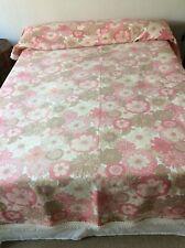 Vintage Pink Floral Fringed Bedspread Cover Throw.