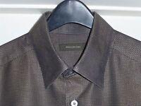 New$325 17x35 Ermenegildo Zegna Lrg Black Copper Bronze Shirt ITALY 43 Nordstrom